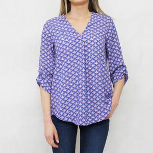 Zapara Purple & White V-Neck 3/4 Sleeve Blouse
