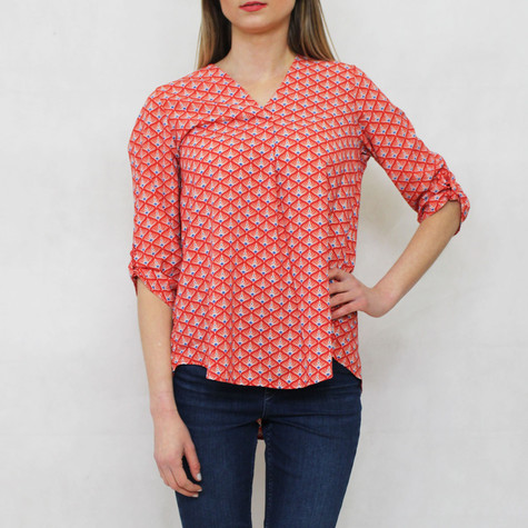 Zapara Orange & Cream V-Neck 3/4 Sleeve Blouse