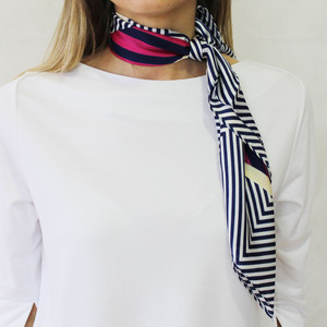 Best Angel Navy Stripe & Pink Mix Scarf