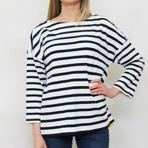 SophieB Navy & White Stripe Round Neck Knit