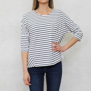 SophieB White & Navy Diagonal Strip Top