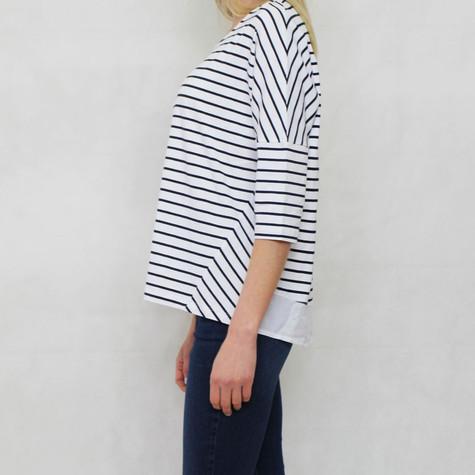 SophieB White & Navy Diagonal Strip Top