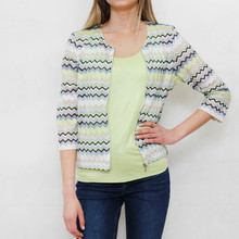 Gerry Weber Daydream Zip Up Pale Lime Zig Zag Top