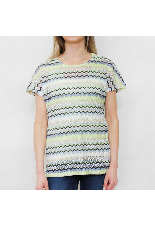 Gerry Weber Daydream Pale Lime Zig Zag Round Neck Top