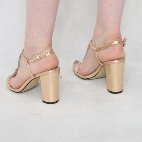 Lunar Rose Gold Block Heel Glam Sandal