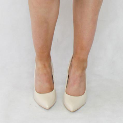 Lunar Beige Patent Plain Heels