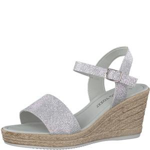 Marco Tozzi Silver Strap High Wedge Sandal