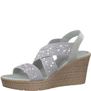 Marco Tozzi Grey Pearl Detail Strap High Wedge
