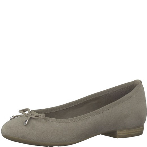 Marco Tozzi Taupe Suede Slip On Flat Shoe