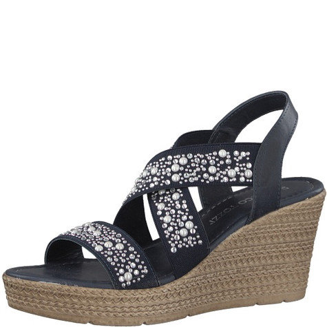 Marco Tozzi Pearl Detail Navy High Wedges