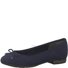 Marco Tozzi Navy Suede Bow Detail Flat Slip On