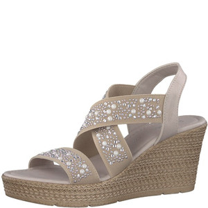 Marco Tozzi Taupe Pearl Detail Strap High Wedge Sandal