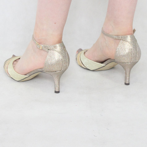 Pacomena Champagne Ankle Strap Heels