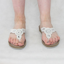 Marco Tozzi White Pearl Detail Sandals