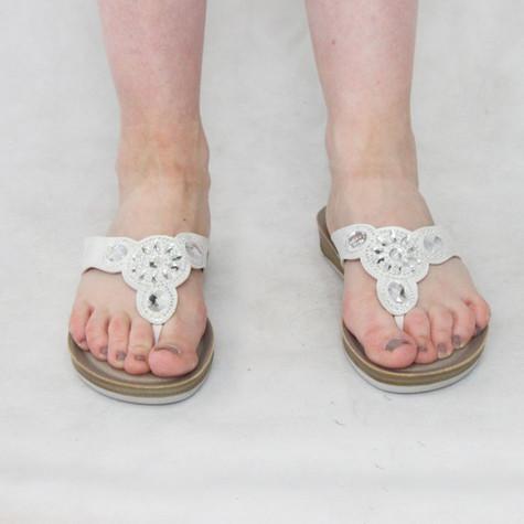 Lotus White Pearl Detail Sandals