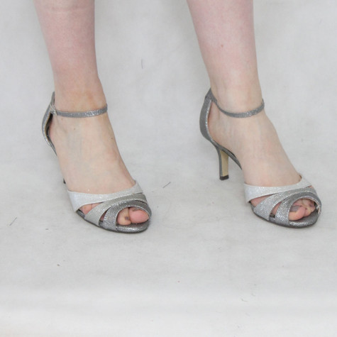 Pacomena Silver Two Tone Ankle Strap Heel