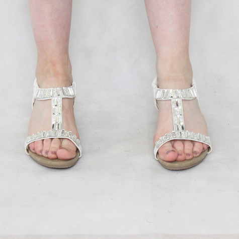 Lunar Diamante White Ankle Strap Sandals