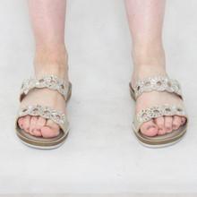 Lotus Diamante Gold Slip On Sandals