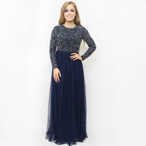 Maya Navy Sequins Long Sleeve Tulle Mesh Dress