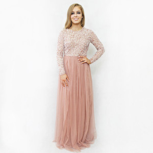 Maya Long Sleeve Embellished Bodice Maxi Dress With Tulle Skirt