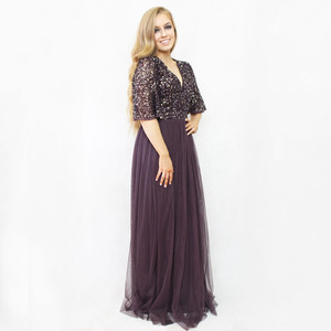 Maya Dark Purple Bat Wing Sleeve Tulle Long Dress