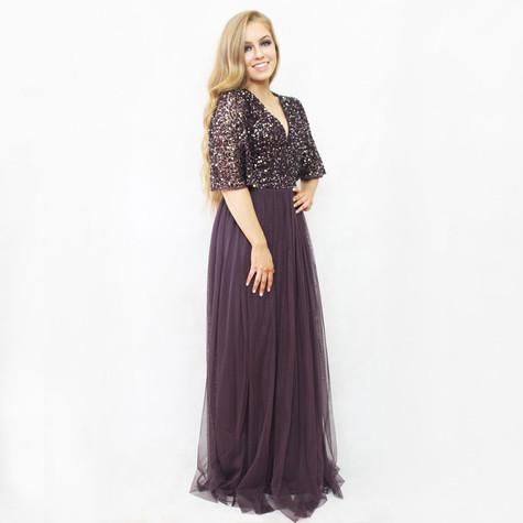 Maya Dark Purple Bat Wing Sleeve Tulle Long Dress