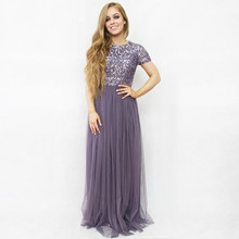 Maya Light Purple Sequence Neckline Dress