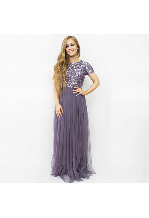Maya Light Purple Sequins Neckline Dress