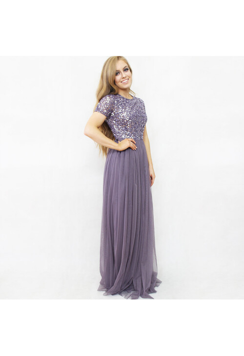 Maya Light Purple Sequins Neckline Dress