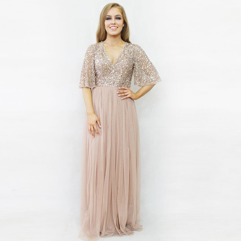 7bac0b200e28 Maya Blush Sequins Bat Wing Sleeve Dress | Pamela Scott