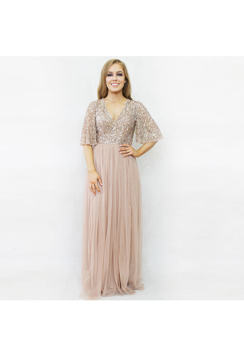 Maya Blush Sequins Bat Wing Sleeve Dress