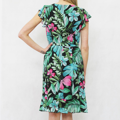 Gerry Weber Tropical Garden Black Floral Print V-Neck Dress