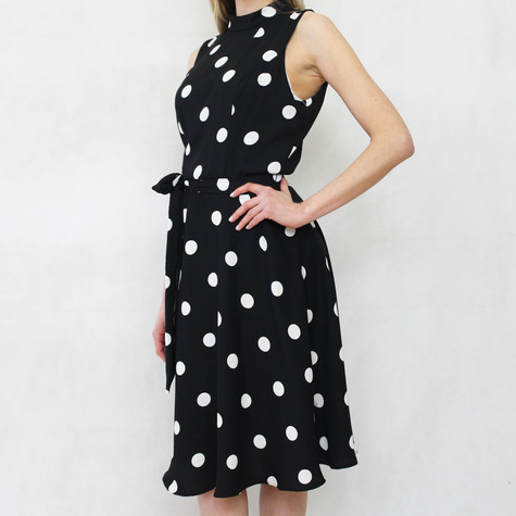 SL Fashions Black White Polka Dot Sleeveless Dress