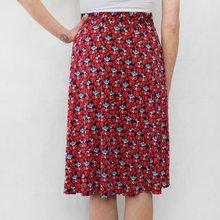 Zapara Red & Navy Floral Pattern Skirt