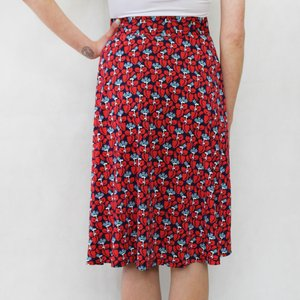 Zapara Red & Navy Floral Pattern Skirt