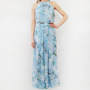 SL Fashions Aqua Floral Print Halter Neck Long Dress