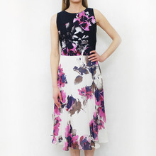 SL Fashions Navy & Off White Floral Print Dress