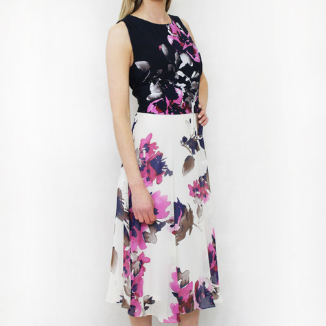 SL Fashions Navy & Off White Floral Print Dress
