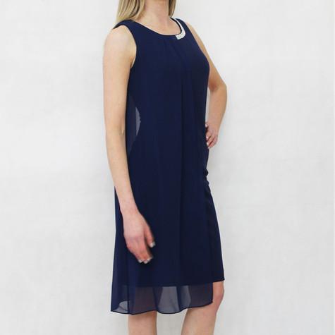 SL Fashions Navy Diamante Neckline Mesh Detail Dress