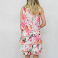 SL Fashions Ivory Layered Floral Print Dress