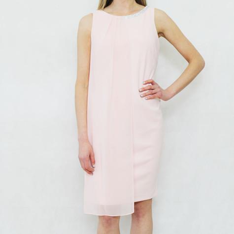 SL Fashions Pale Pink Diamante Neckline Dress