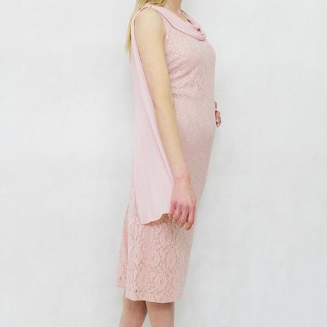 SL Fashions Rose Mesh Shoulder Detail Dress