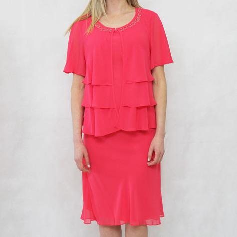 SL Fashions Cerise 2 in 1 Mesh Jacket Dress