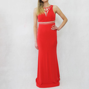 My Michelle Red Neck Line Detail Long Sleeveless Dress