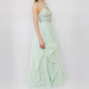 My Michelle Sage Chiffon Strap Long Dress