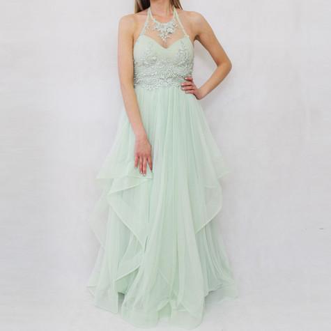 My Michelle Sage Chiffon Strap Long Dress