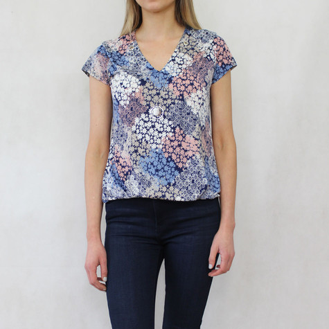 Twist Navy V-Top With Pink & Navy Floral Print