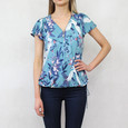 Zapara Aqua Green Bird Print Zip Neckline Top