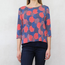 SophieB Red & Navy Sport Pattern Mesh Lined Top
