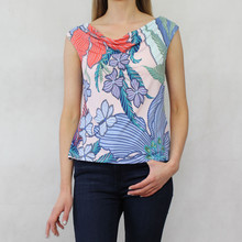 Zapara Large Blue Leaf Print Open Back Top